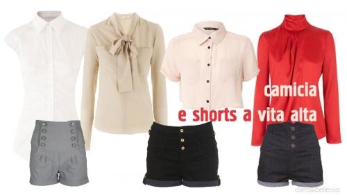 Camicia e shorts a vita alta