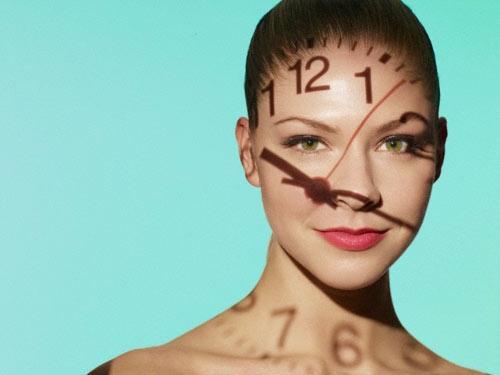 donna, viso, orologio